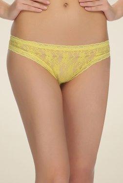 Clovia Yellow Lacy Bikini Panty