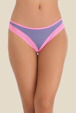 Clovia Lavender & Pink Lace Bikini Panty