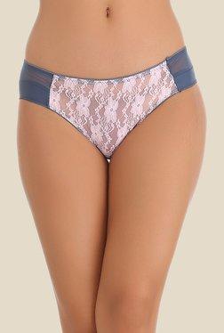 Clovia Navy & Pink Lace Bikini Panty