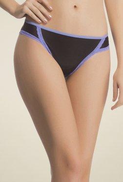 Clovia Black & Lilac Lace Bikini Panty