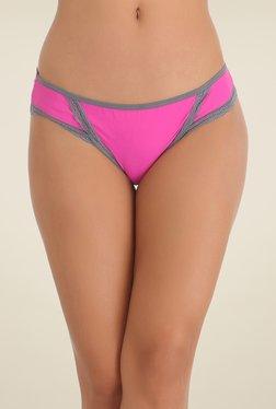 Clovia Pink & Grey Lace Bikini Panty