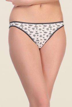 Clovia White & Black Cotton Bikini Panty