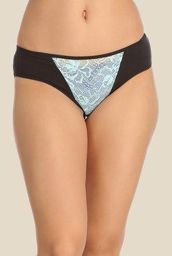 Clovia Black & Aqua Lace Bikini Panty