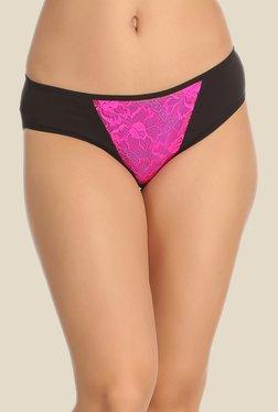 Clovia Black & Pink Lace Bikini Panty