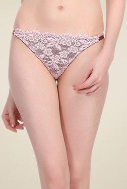 Clovia Baby Pink Lace Thong Panty