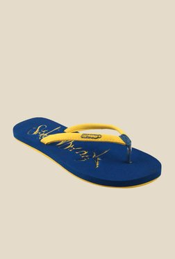 Solethreads ST EMB Yellow & Royal Blue Flip Flops