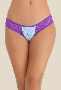 Clovia Sky Blue & Purple Lace Bikini Panty