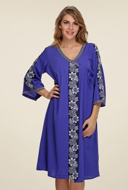 Clovia Blue Floral Print Robe