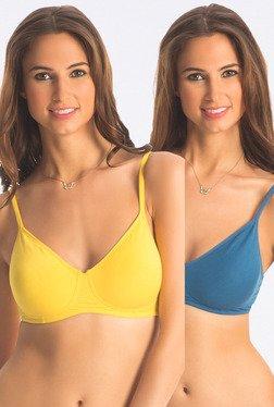 PrettySecrets Yellow & Blue Wireless Bra (Pack Of 2)