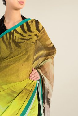 Satya Paul Yellow & Turquoise Georgette Satin Saree