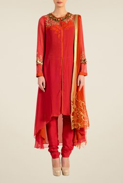 Satya Paul Tomato Red Embellished Viscose Georgette Suit Set