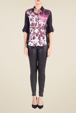 Satya Paul Pink & Black Printed Cotton Shirt