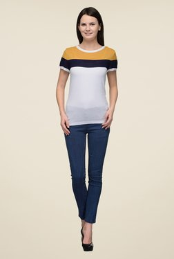 United Colors Of Benetton White & Yellow Striped Top