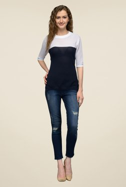 United Colors Of Benetton Navy & White Solid Top