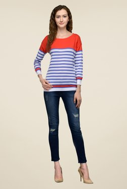 United Colors Of Benetton Blue & Red Striped Top