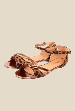 Solovoga Rerep Golden & Brown Ankle Strap Sandals