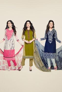 Salwar Studio Pink, Green & Navy Dress Material (Pack Of 3)