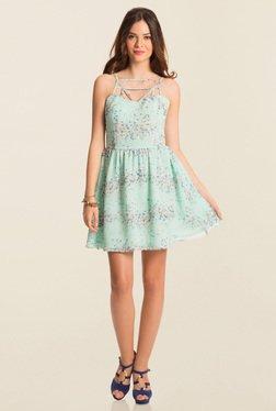 PrettySecrets Turquoise Spring Bound Skater Dress
