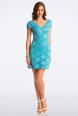 PrettySecrets Scuba Blue Lace Bodycon Dress