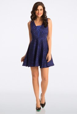 PrettySecrets Blue Printed Abiding Adorable Lace Dress