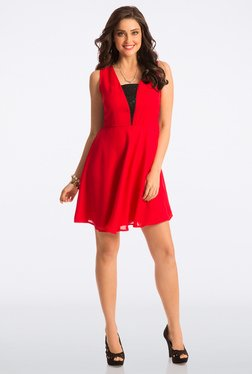 PrettySecrets Bombshell Red Abiding Adorable Lace Dress