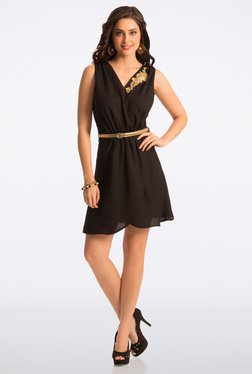 PrettySecrets Flattering Black Wrap It Up Belted Dress