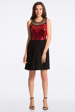 PrettySecrets Fiery Black & Red Sequin Fit & Flare Dress