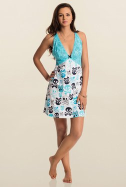PrettySecrets Aqua & White Printed Play Lace Short Chemise