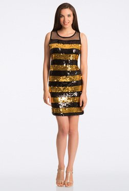 PrettySecrets Dazzling Black & Gold Fit & Flare Dress