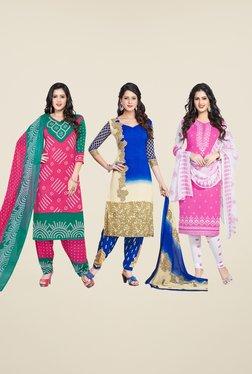 Salwar Studio Pink & Blue Dress Material (Pack Of 3)