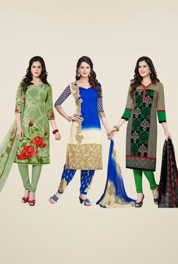 Salwar Studio Green, Blue & Grey Dress Material (Pack Of 3)