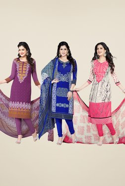 Salwar Studio Purple, Blue & Pink Dress Material (Pack Of 3)