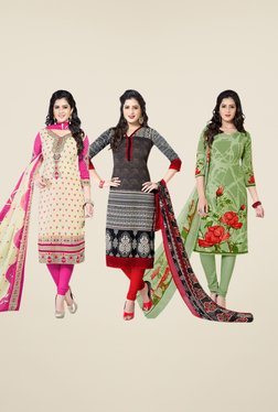 Salwar Studio Beige, Black, Green Dress Material (Pack Of 3)