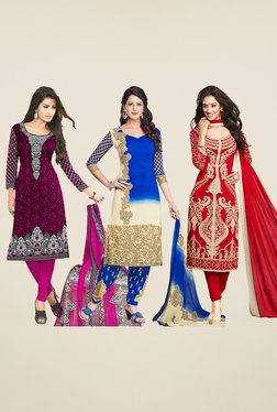 Salwar Studio Purple, Blue & Red Dress Material (Pack Of 3)