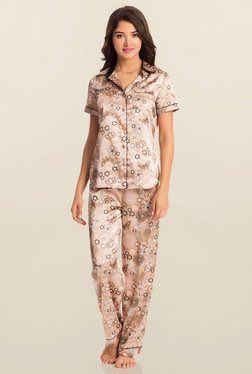 PrettySecrets Brown Bloom Midnight Spell Top & Pyjama Set