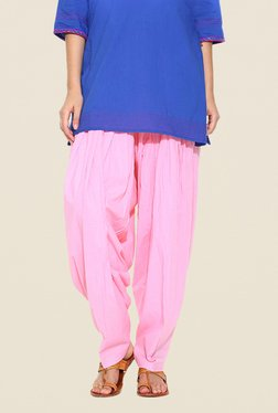 Stylenmart Baby Pink Solid Patiala Pants