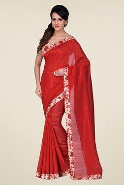 Shonaya Red Bhagalpuri Art Silk Floral Saree