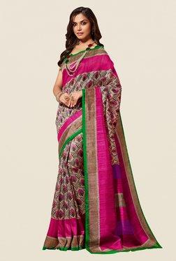 Shonaya Beige & Pink Cotton Silk Saree