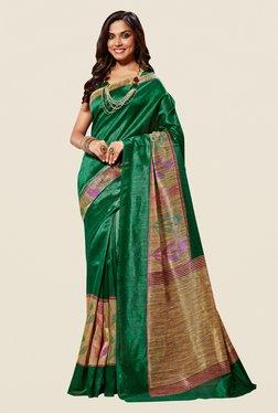 Shonaya Green & Beige Cotton Silk Saree