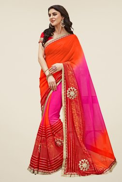 Shonaya Pink & Orange Georgette Saree