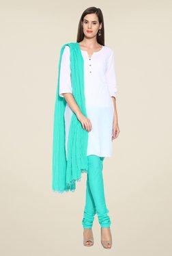 Stylenmart Turquoise Solid Churidar & Dupatta Set