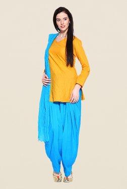 Stylenmart Blue Solid Patiala & Dupatta Set