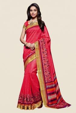 Shonaya Pink & White Kanjivaram Art Silk Saree