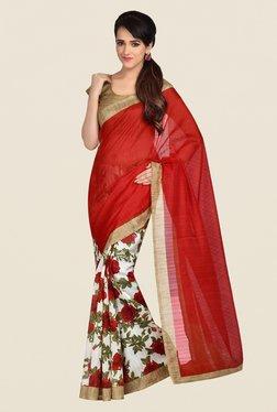 Shonaya Red & White Bhagalpuri Art Silk Saree