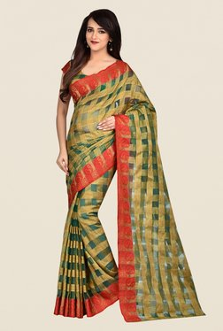 Shonaya Green & Beige Banarasi Art Silk Saree