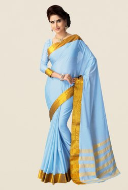 Shonaya Sky Blue Cotton Silk Saree