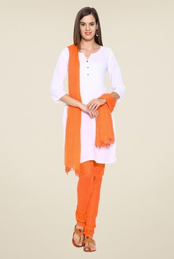 Stylenmart Orange Solid Churidar & Dupatta Set