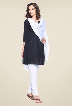 Stylenmart White Solid Churidar & Dupatta Set