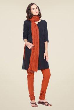 Stylenmart Rust Solid Churidar & Dupatta Set