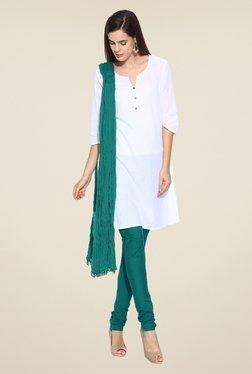 Stylenmart Green Solid Churidar & Dupatta Set